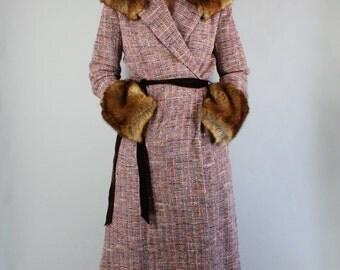 Vintage 90s does 30s Women's Purple Boucle Faux Fur Long Formal Dress Luxurious Fall Maxi Jacket Coat