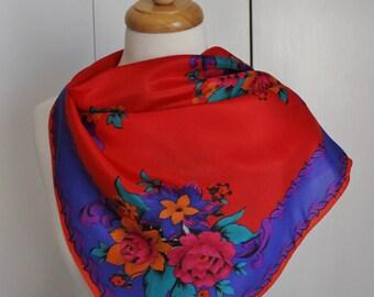 Vintage 80s Women's Roses Floral Print Large Square Boho Folk Print Liz Claiborne Spring Summer Scarf