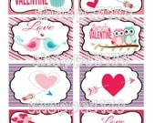 Instant Download Sweet Valentine Bird Owl Arrow Valentines Cards DIY Printable Cards Construction Trucks
