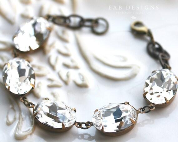 Swarovski Crystal Estate Style Bracelet, Bridal Bracelet, Clear Diamond, Wedding Jewelry