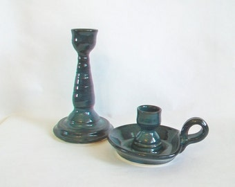 Blue Green, Dark Teal -- Candlestick Holder  with Handle - Individual Single Tall Candlestick Holder - or as a  Set of 2