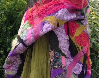 Nuno felted silk & wool shawl collage shawl - purple,pink green black lagenlook - Made to order Art to Wear