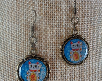 Blue Maneki Neko Earrings
