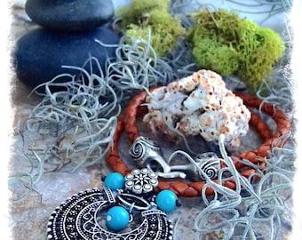 INDIE necklace Turquoise Trinity Leather necklace Oriental Exotic jewelry Short necklace Bohemian jewelry Statement neckpiece GPyoga