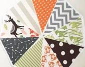 Fabric Woodland Garland, Dear, Fox Arrow Flags, Bunting, Playroom Decor, Baby Shower Banner, Nursery, Birthday Party Brown, Grey, Orange