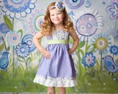 Fleur the Long Haul- M2M Little Boats Spring 2016 lavender green and white rosette ruffle and lace headband
