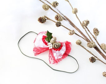 Pinecones and Lace headband - red and white tulle bow with pom trim and pinecone bow