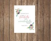 Psalm 139 - Fearfully and Wonderfully Made - Digital Print - Instant Download
