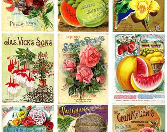 Seed Packs 9 Printed Antique Seed Catalogs Garden Sticker Pack Kitchen Decoration Flower Pack Decoupage Kitchen Collage Art Card Making, 80a