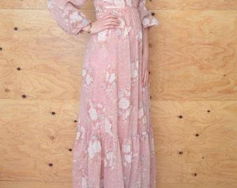 Vintage 70's Creamy Rose Floral Prairie Peasant Dress Maxi Length S