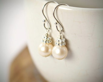 Flower Girl Pearl Earrings 925 Sterling Silver and Ivory White Pearls