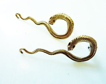 Medusa Snake Earrings, Hand-Cast Bronze or Sterling Silver, Power Amulet, Serpents, Reptile, Victorian, Egyptian, Royalty