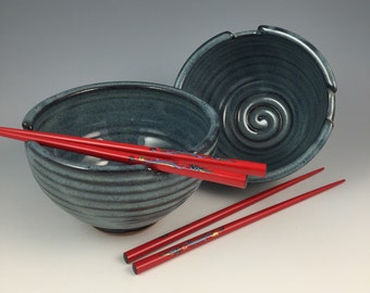 Rice Bowl Set - Pair of 2 Handmade Bowls - Chopstick, Noodle Bowls - Pottery Bowls in our Denim Blue Glaze