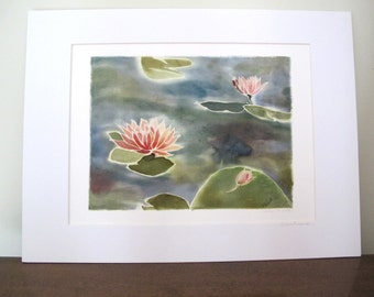 Water Lilies Giclee Print of Silk Painting ,With 12 x 16 inch Mat, Ready to be Framed