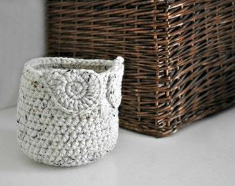 Small Oatmeal Owl Basket Crocheted Bin Yarn Holder Woodland Nursery Decor Home Organizer Custom Colors
