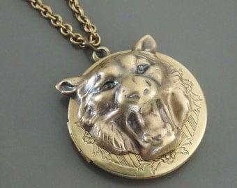 Locket Necklace - Vintage Necklace - Tiger Necklace - Lion Necklace - Vintage Brass Jewelry - handmade jewelry