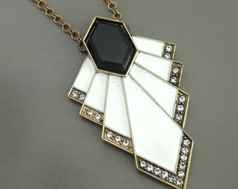 Art Deco Necklace - Chevron Necklace - Crystal Necklace - Antique Gold - Black and White Enamel Necklace - handmade jewelry