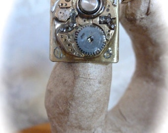 SALE - Steampunk Ring Vintage Watch Movement Adjustable