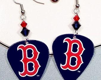 Boston Red Sox Guitar Pick Earrings - Red Sox Earrings