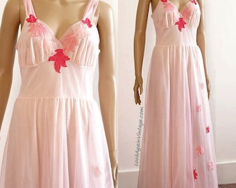 Vintage 1950s Long Nightgown Pale Pink Chiffon Lace Van Raalte Nightgown Lingerie / Small