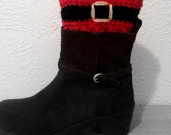 Santa Boot Cuffs, Christmas Crochet Boot Toppers, Red and Black Boot Cuffs, Made to Order