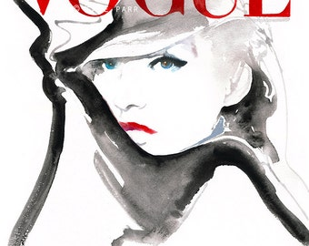 Large Canvas Print, Ready to hang, Vogue Cover Art . Watercolour Fashion Illustration Prints. German Vogue