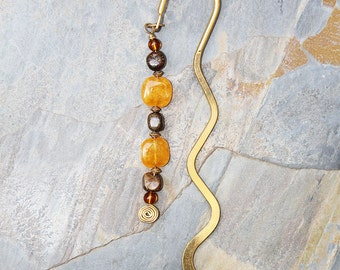 Orange, Brown and Gold Bookmark, Natural Stone Bookmark, Jade Bookmark, Bronze Bookmark, Curved Bookmark, Beaded Bookmark, Bookclub Gift,