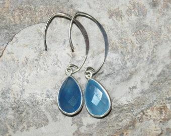 Blue Agate Earrings, Gemstone Earrings, Blue Earrings, Sterling Silver Earrings, Teardrop Earrings, Blue Agate Jewelry, Handmade Earrings