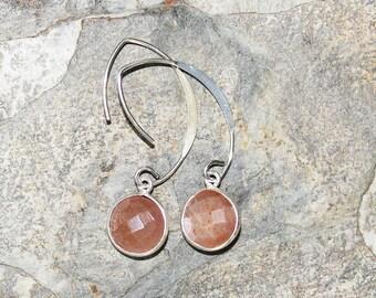 Peach Moonstone Earrings, Gemstone Earrings, Peach Earrings, Sterling Silver Earrings, Modern Earrings, For Her, Peach Moonstone Jewelry