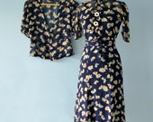 1940s Womens Suit...Vintage Sheer Floral Print Dress and Jacket