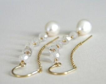 Gemstone Jewelry, Gold Jewelry / Gold Earrings / Gemstone Earrings / 14K Gold Filled / Freshwater Pearl and Moonstone Earrings / Threaders