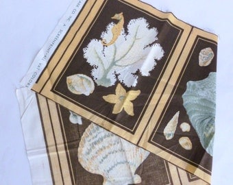 Seashells Fabric Panel in Chocolate Brown, Peach, Gray and White Largo Print by Cyrus Clark