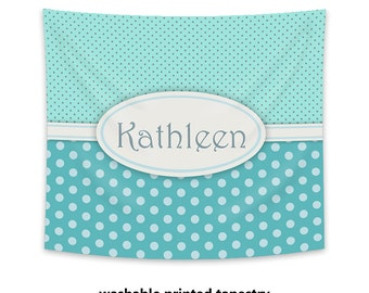 Personalized Wall Tapestry, aqua printed tapestry, monogram, polka dots, wall art, wall hanging, dorm decor, teen gift, nursery decor
