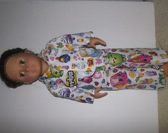 "Shopkins cotton doll pajamas fits 18"" American Girl doll"