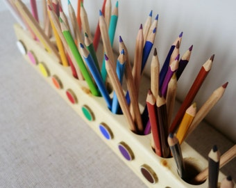 Montessori wood pencil holder, color sorting, practical life, toddler gift, adult coloring pencil holder, wood desc organizer