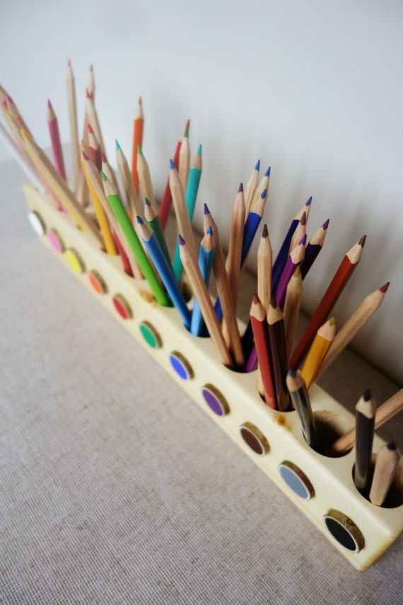 Montessori Wood Pencil Holder Color Sorting Practical Life