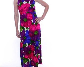 Vintage 60's maxi dress, Hawaiian, deep jewel tones, large floral pattern, sleeveless, empire waist - Small
