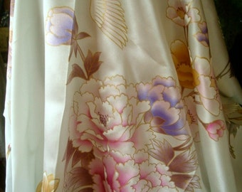 large silk scarf floral scarf square scarf herons and peonies pink cream scarf cloisonne