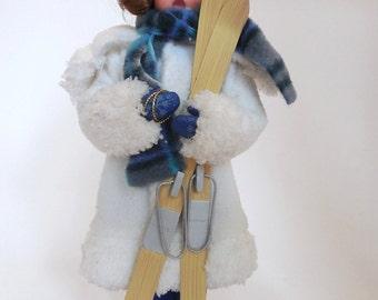 Cute Vintage Ski Doll - Ski Decor - Ski Collectible - Ski - Cloth Doll - Ski Memorabilia - Collectible Doll