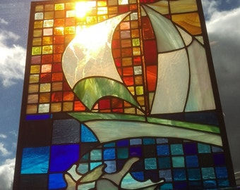 Sailboat Sunset Geometric Stained Glass
