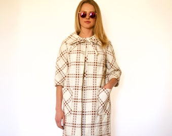60s Edith Flagg Brown Cream Dotted Plaid Coat Dress Set xs s m