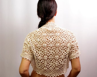 Cream Shrug Lace Bolero Wedding Shrug Crochet Shrug Linen Bridal Lace Shrug Cape Wedding Bridesmaid Bolero Jacket Bridal Cover Up S-M-L