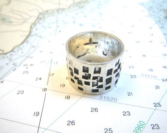 Modernist Sterling Silver Ring 12g - Wide Band ~Size 8 3/4