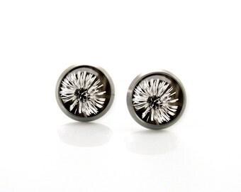 Dandelion black and white flower Vintage Titanium Post Earrings | Hypoallergenic Earring Stud | Titanium Earring Stud Sensitive jewelry post