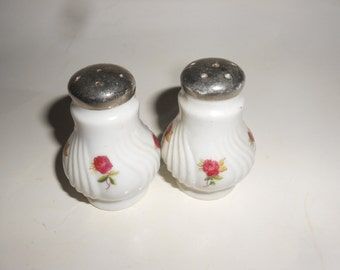 Rose Salt & Pepper Shakers Antique Porcelain Beauties -Perfect Valentine Gift