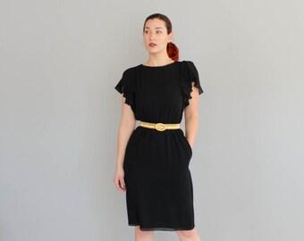 80s Pierre Cardin Dress - Vintage 1970s Little Black Dress - Fly High Dress