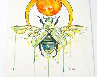 Scarab Beetle - Original watercolor painting