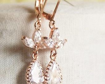 Rose Gold Earrings Rose Gold Teardrop Earrings Rose Gold CZ Earrings Cubic Zirconia Earrings Rose Gold Leaf Earrings Rose Gold Wedding