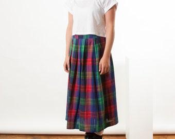 Graphic Plaid Skirt / High Waisted Midi Skirt / Bold Colors Plaid Skirt