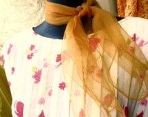1 Sheer 1950s Caramel Rockabilly Scarf #R5 // 50s 60s Sheer Scarf // Free shipping